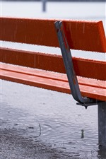 Preview iPhone wallpaper Bench, water, rain