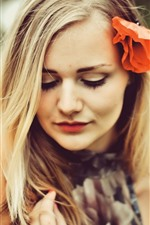 Preview iPhone wallpaper Blonde girl, red poppy flower