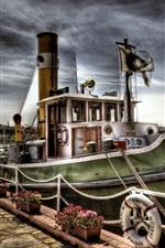 ボート、桟橋、川、HDRスタイル
