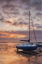 ボート、海岸、川、雲、日没