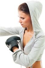 iPhone壁紙のプレビュー ボクシング、女の子、白い背景