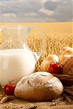 Preview iPhone wallpaper Bread, milk, tomatoes, wheat field