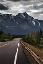 Preview iPhone wallpaper Canada, mountain, road, trees, clouds, dusk