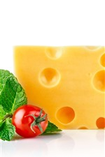 Preview iPhone wallpaper Cheese, tomatoes, white background