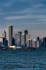 iPhone壁紙のプレビュー シカゴ、都市、高層ビル、海、アメリカ