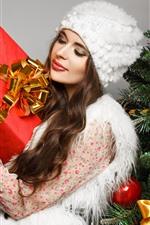 Preview iPhone wallpaper Christmas, girl, gift, box, Christmas tree