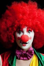 iPhone обои Клоун, девушка, разноцветный, черный фон