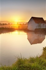 Preview iPhone wallpaper Countryside, house, river, fence, fog, morning, sunrise