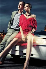 Preview iPhone wallpaper Fashion girl and boy, car