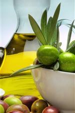 Frutas, tigela, óleo