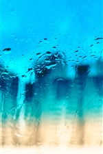 Preview iPhone wallpaper Glass surface, water droplets, blue