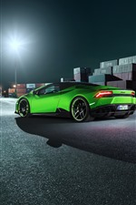Preview iPhone wallpaper Green Lamborghini supercar rear view, dock, night
