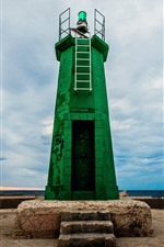 Preview iPhone wallpaper Green lighthouse, blue sky, clouds