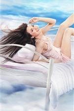 Vorschau des iPhone Hintergrundbilder Glückliches Mädchen, langes Haar, Bett, Himmel, Wolken