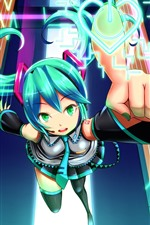 Preview iPhone wallpaper Hatsune Miku, blue hair anime girl, touch