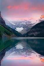 Preview iPhone wallpaper Lake, mountain, snow, water reflection, dusk
