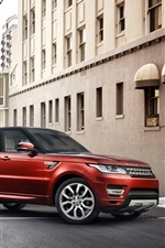 Preview iPhone wallpaper Land Rover Range Rover, red SUV, city, road