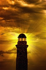 Preview iPhone wallpaper Lighthouse, lamp, clouds, night, light rays, birds