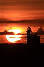 Lighthouse, sunset, red sky, clouds, silhouette