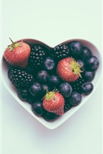 Preview iPhone wallpaper Love heart, bowl, blueberry, strawberry