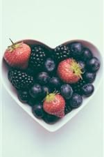 Aperçu iPhone fond d'écranCoeur d'amour, bol, myrtille, fraise