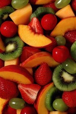 Preview iPhone wallpaper Many fruit slice, strawberry, kiwi, peach