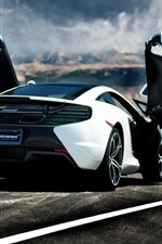 Preview iPhone wallpaper McLaren MP4-12C supercar rear view, doors opened