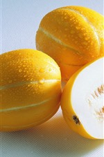 Preview iPhone wallpaper Melon, yellow, water droplets, fruit