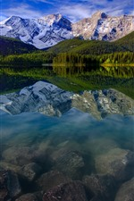 Preview iPhone wallpaper Mountain, lake, snow, trees, water reflection, nature