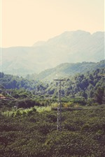 Preview iPhone wallpaper Mountains, trees, power lines, countryside