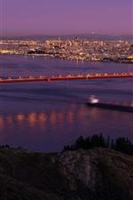Preview iPhone wallpaper Night, San Francisco, bridge, sea, lights, USA