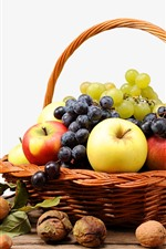 Preview iPhone wallpaper One basket of fruit, grapes, apples, nuts
