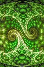 Preview iPhone wallpaper Optical illusion, abstract green patterns