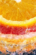 Orange slice, water