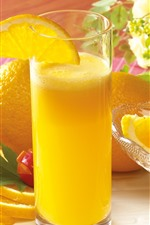 Preview iPhone wallpaper Oranges, orange juice, glass cup, drinks