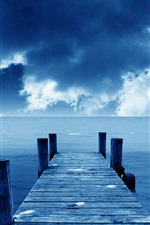 Pier, bridge, sea, blue, sky, clouds, coast