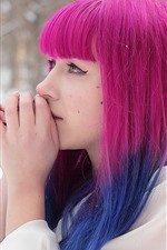 Pink hair girl, snow, winter