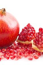 iPhone壁紙のプレビュー ザクロ、果物のクローズアップ、白い背景