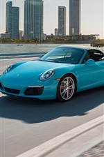 Preview iPhone wallpaper Porsche blue car, speed, road, city