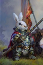 Preview iPhone wallpaper Rabbit warrior, art painting