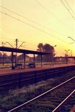 Railway, rail station, city, houses, sunrise, morning