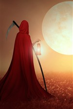 Preview iPhone wallpaper Reaper, red cape, field, house, moon