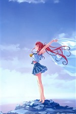 Preview iPhone wallpaper Red hair anime girl, freedom, wind