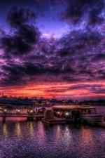 Mar, noite, porto, barco, luzes, nuvens, céu