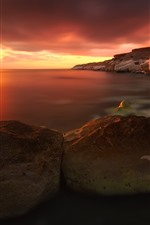 Preview iPhone wallpaper Sea, rocks, red sky, sunset, nature scenery