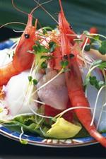 Crevettes, viande, plat