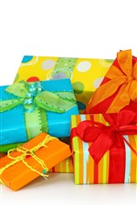 Preview iPhone wallpaper Some gift, colorful box, white background