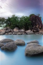 Preview iPhone wallpaper Stones, sea, island, nature scenery