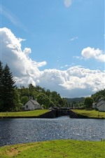 Preview iPhone wallpaper Summer, river, houses, village, trees, clouds, blue sky