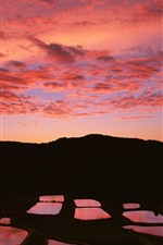 Preview iPhone wallpaper Sunset, mountains, puddle, silhouette, red sky, clouds